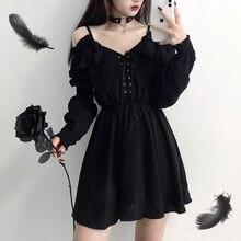 Dress devil girl original black 2021 spring and autumn sexy high waist viper dress shoulder long sle