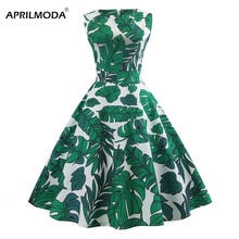 Banana Tropical Leaf Print Sleeveless Summer Vintage Dress Green Retro Pinup Dress 40s 60s 50s Vintage Rockabilly Party Vestidos