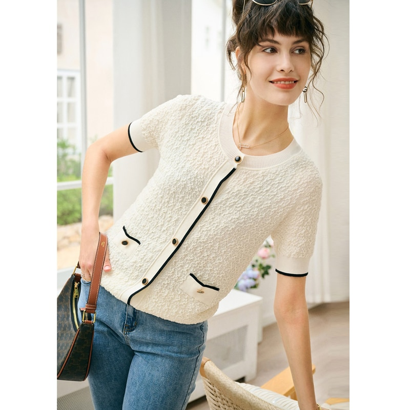 T-shirt Women 100% Wool Knitted Elegant Design O Neck Short Sleeves Single-breasted 2 Colors Ladies Cardigan Ladies New Fashion