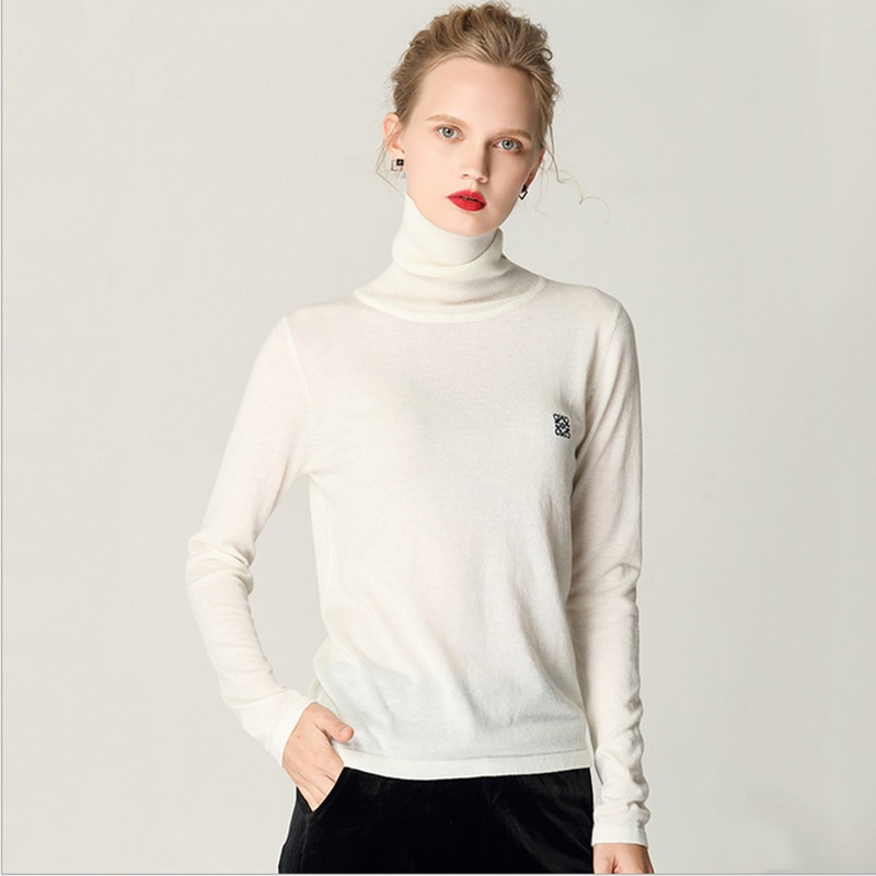 2019 New style autumn winter sweater woman pure color soft comfortable pile collar bottom shirt self-cultivation knit sweater enlarge