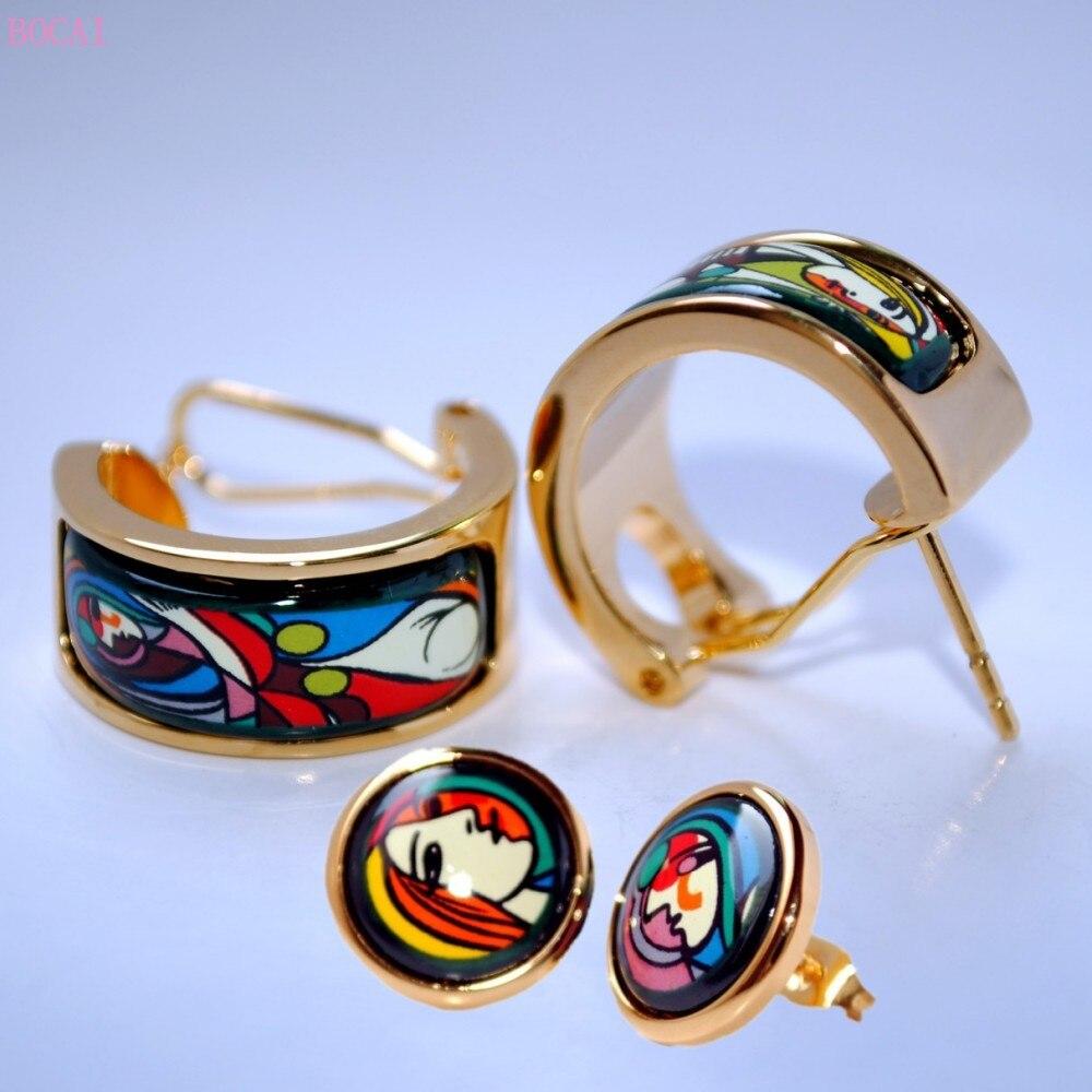 BOCAI مصوغة بطريقة المينا أقراط للنساء 2021 جديد موضة حلية مجوهرات فتاة أمام مرآة نمط نمط الأذن ترصيع مقاطع