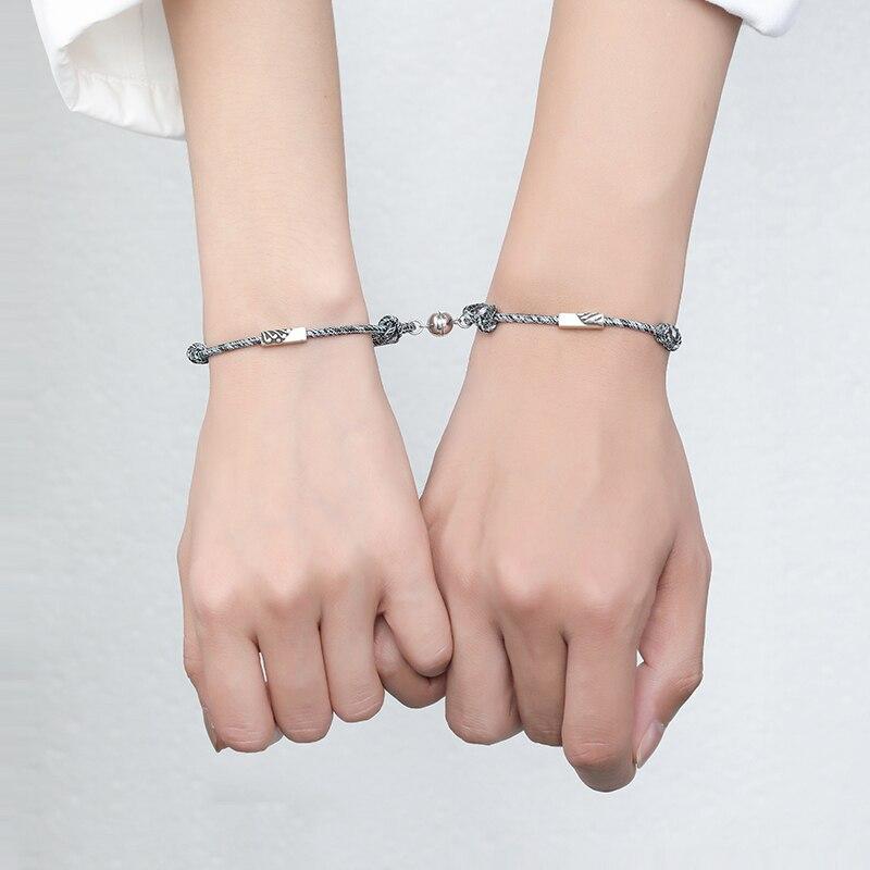 2pcs Set Couple Bracelet for Women Infinite Love Paired Bracelet Coupling Magnetic Clasp Chain Brace
