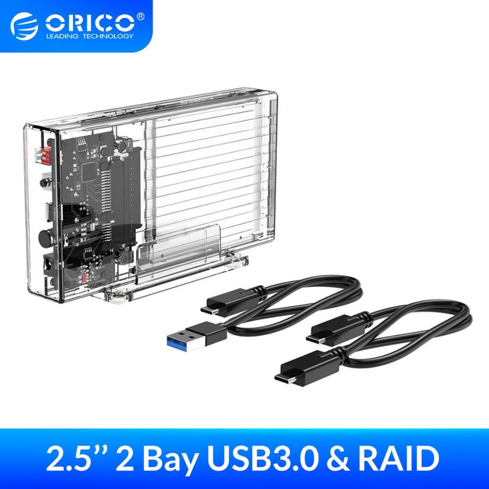 Carcasa de disco duro ORICO de 2,5 pulgadas con RAID 0 1 PM SPAN caja SSD externa transparente SATA3.0 Funda de disco duro para Windows/Mac/Linux
