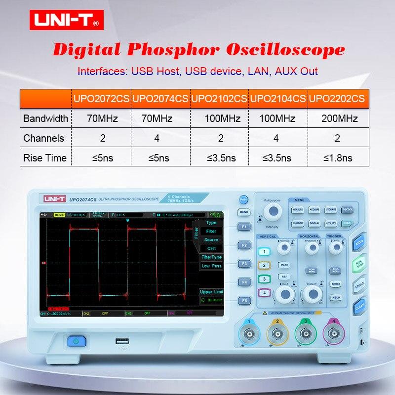 Osciloscopio de fósforo UPO2000CS 70-100MHz ancho de banda; 1GS/s tasa de muestreo; 28Mpts Profundidad de memoria 50.000 wfms/s velocidad de captura de forma de onda