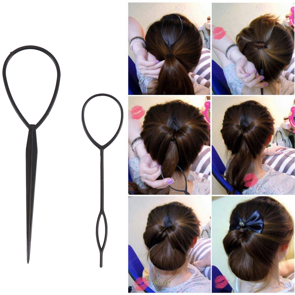 2 unids/lote de agujas para el cabello, trenza de pelo de cola de caballo, creador de cabello, pinza para la cola de lazo