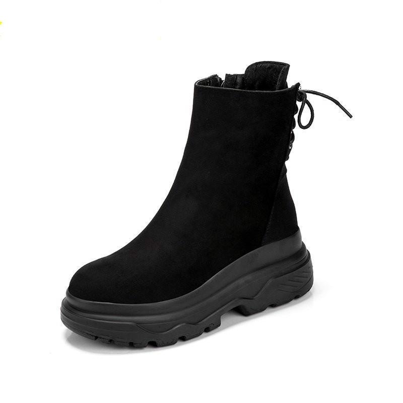 Botas de Neve Alto à Prova Rendas até Sapatos de Algodão Inverno Quente Nova Plataforma Casual Feminina Salto Dwaterproof Água Pluss Feminino Botas Curtas Mulher