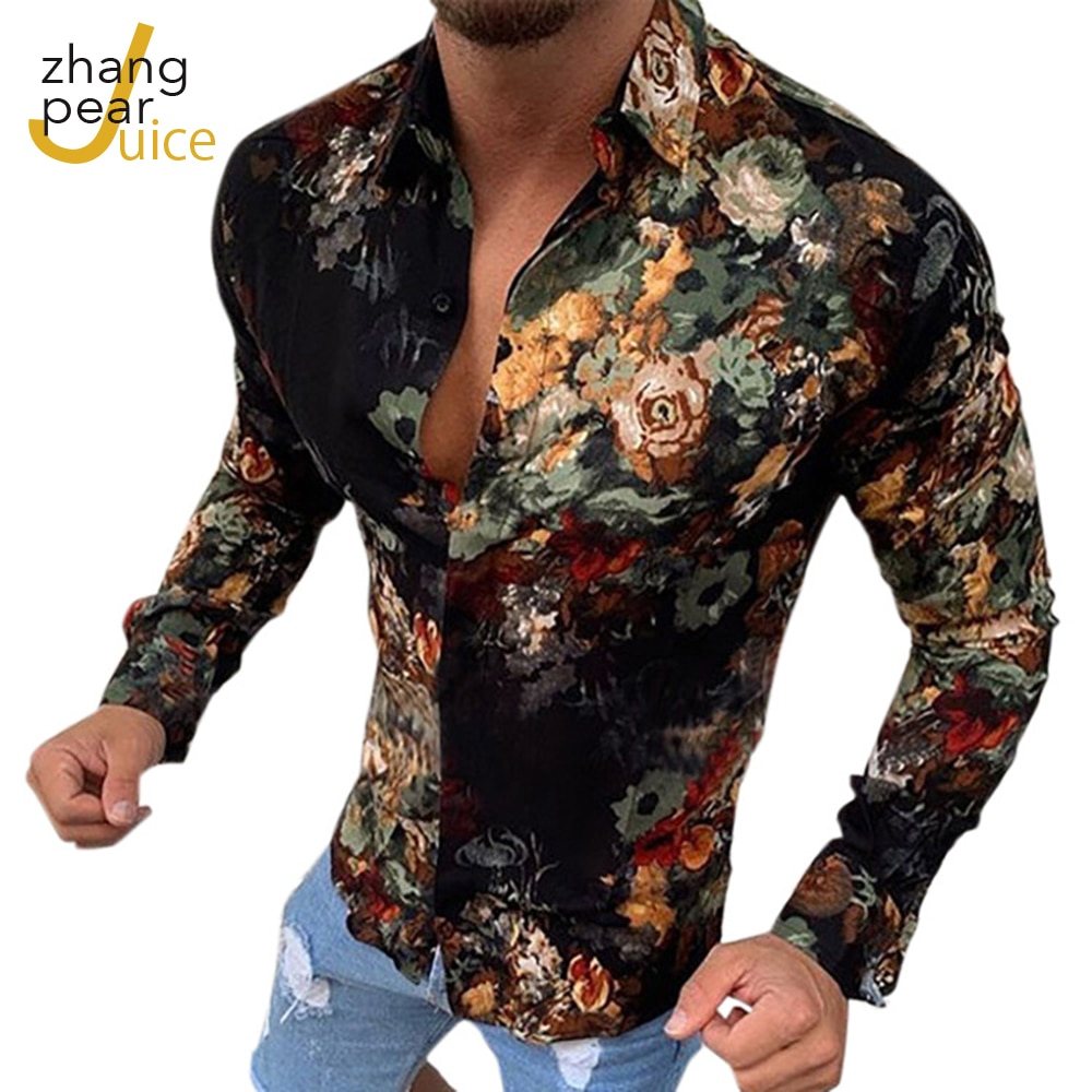 Men Vintage Shirts Long Sleeve Fashion Print Casual Sexy Slim Fit Top Camisa Masculina