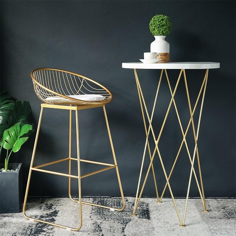 Último taburete barato 62cm/72cm taburete de Bar nórdico silla café sillas oro taburete alto silla comedor Simple de hierro forjado con cojín suave