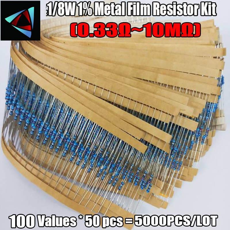 1/8 Вт 1% 1R ~ 10M Ом 5000 ценностей 50 шт. = 0,125 шт. Вт металлическая пленка стандарта