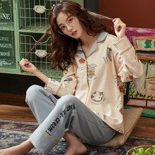 BZEL Hot البيع المرأة ملابس خاصة مجموعات كبيرة الحجم منامة مجموعة القطن ملابس منزلية غير رسمية المتسكعون لطيف الكرتون ملابس النوم بيجامة M-4XL