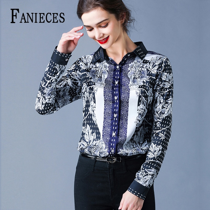 Blusa con lazo de pasarela 2020 nueva moda de estilo europeo elegante para mujer camisa informal con cuello de lazo con estampado partes de arriba de trabajo de oficina Blusa femenina