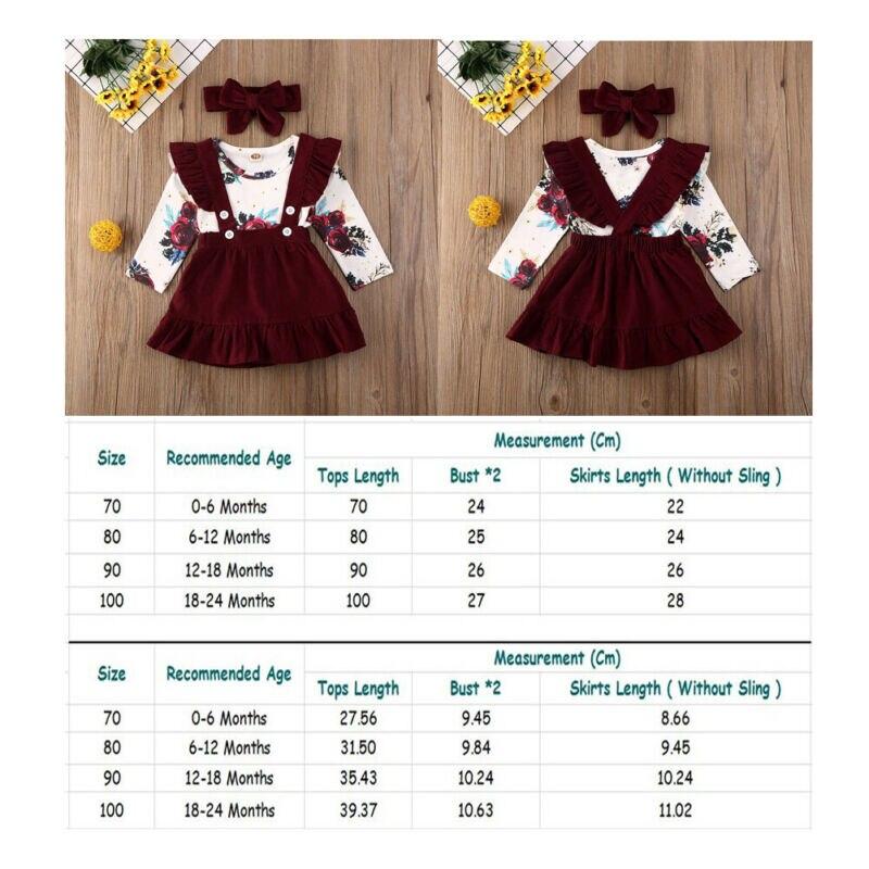 Newborn  Baby Girl Clothes Set Floral Bodysuit Romper Jumpsuit Tops T Shirt  Suspender Skirts Bow Headband Outfit Button 2pcs