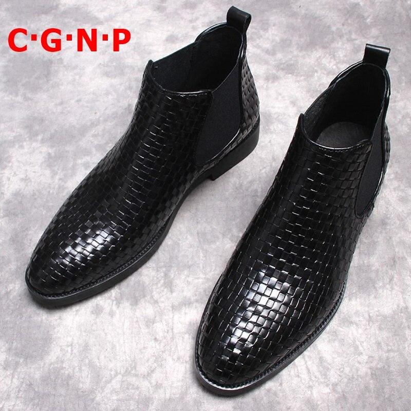 C · G · N · P اليدوية نسج البقر الحقيقي حذاء رجالي جلد فاخر قصيرة مارتن الأحذية الرجال النمط البريطاني تشيلسي الأحذية الأحذية الرسمية