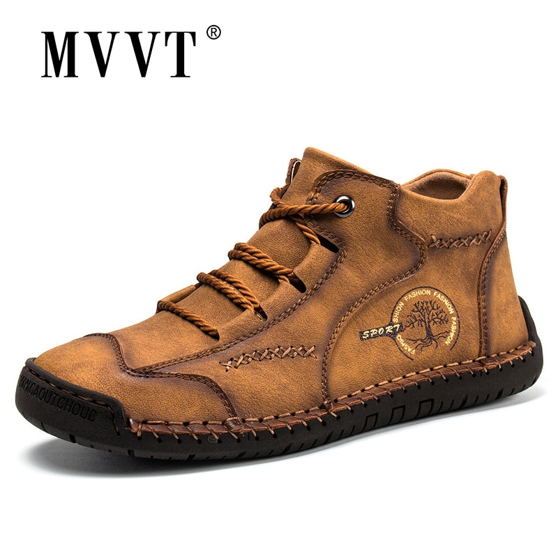 New Arrival Leather Men Boots Handmade Ankle Khaki Outdoor Winter Casual Shoes Autumn Platform