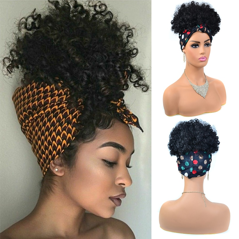 AliExpress - Fluffy Headband Wigs for Black Women Short Afro Kinky Curly Headwrap Wig High Temperature Natural Synthetic Headband Scarf Wig