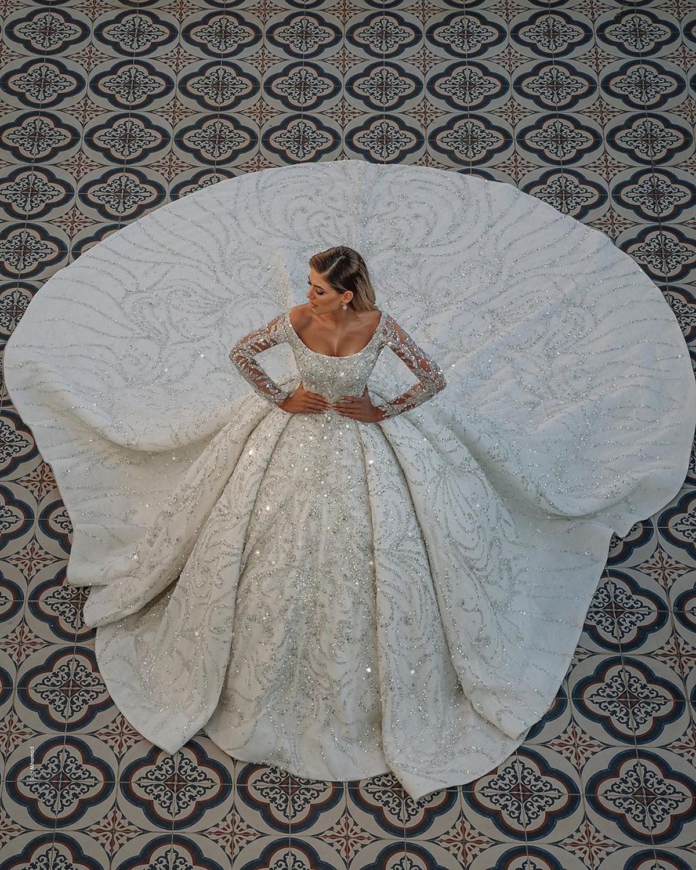 Vestidos De Novia Hot Luxurious Big Ball Wedding Dresses Crystal Beads Wedding Dresses Vestido De Noiva Mariage Bridal Gown