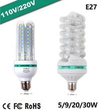 Led Lamp E27 Led Corn Bulb Ac 110-220V Led Kroonluchter Lamp U-Type Lampen 5 ~ 150W Lampen Decoratie Licht Energiebesparing