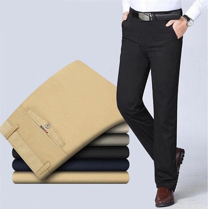 Весна-лето 2020, тонкий мужской костюм, штаны мужские хлопковые Слаксы с высокой талией, прямые свободные однотонные деловые повседневные шта...