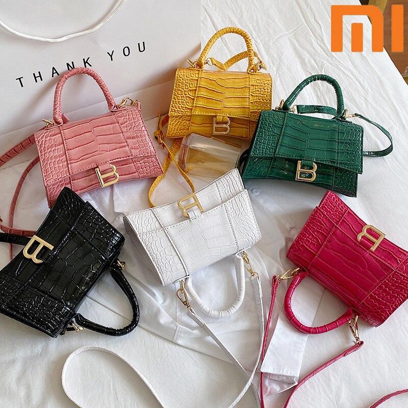 Designer Luxury Soft Top-Handle Tote Women Alligator Leather Fashion Handbag Girl Brand B Metal Shoulder Messenger Bags Female