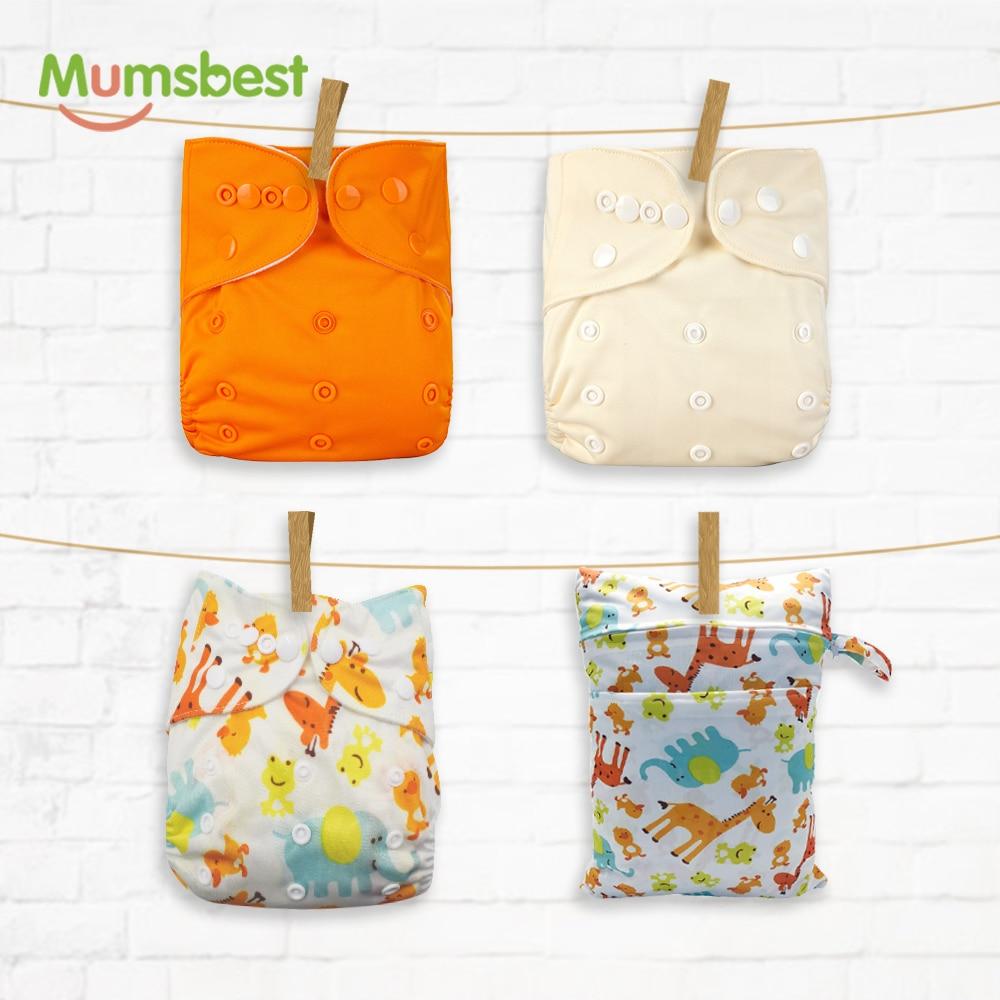 Pañales de tela reutilizables Mumsbest, 4 unidades por paquete, con bolsa húmeda 30*40, lavable, impermeable, disponible, cubierta de pañales ecológica de 3-15kg