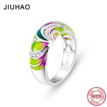 Jak kolorowe phoenix dla kobiet 100% autentyczne 925 Sterling Silver olśniewający CZ charms moda luksusowe pierścionki Party biżuteria emalia