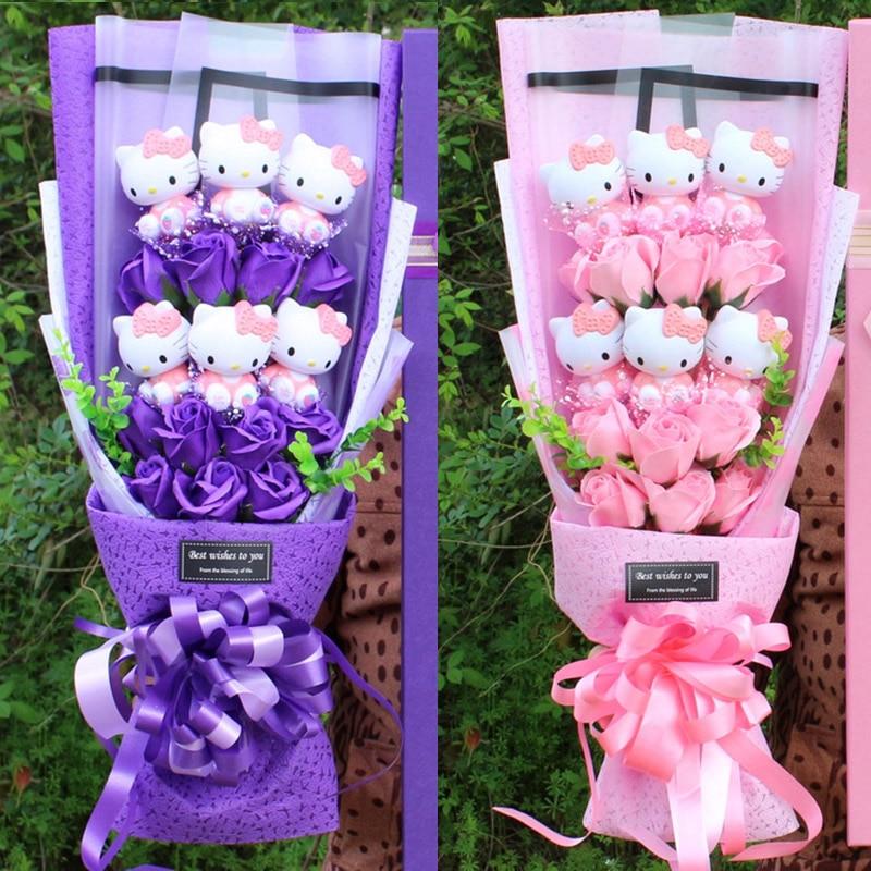 باقات زهور صناعية مع كيتي ، هدية الزفاف ، هدايا الذكرى السنوية ، عيد ميلاد ، عيد الأم ، عيد الحب