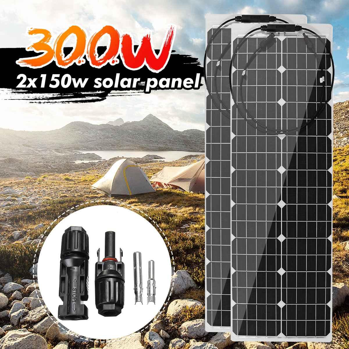 300W/150W 18V Solar Panel Semi-flexible Monokristalline Solarzelle DIY Kabel Wasserdicht Hause Im Freien stecker Batterie Ladegerät