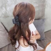 Pince à cheveux en plastique ajouré femme   Tenue de cheveux noire, gommage crabe sculpté, pinces à cheveux de grande taille 2020