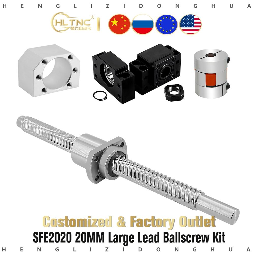20 مللي متر SFE2020 كبير الرصاص الكرة طقم مسامير ربط مع DSG2020 الجوز الإسكان BKBF15 نهاية دعم و ballبرغي اقتران ل نك xyz راوتر