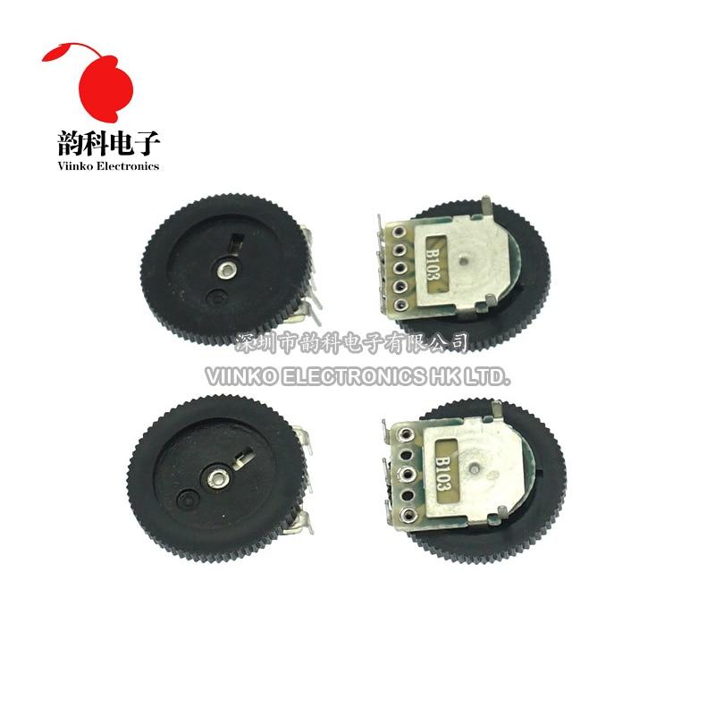 10 Uds Dial doble cono Volumen de dúplex potenciómetro B102 B103 B203 B503 B104 1K 2K 5K 10K 20K 50K 100K 3Pin 5Pin 16*2mm