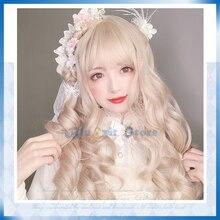 Lolita Cosplay perruque Harajuku doré blond doux vague de corps bouclés longs cheveux synthétiques Bang frange pour filles adultes