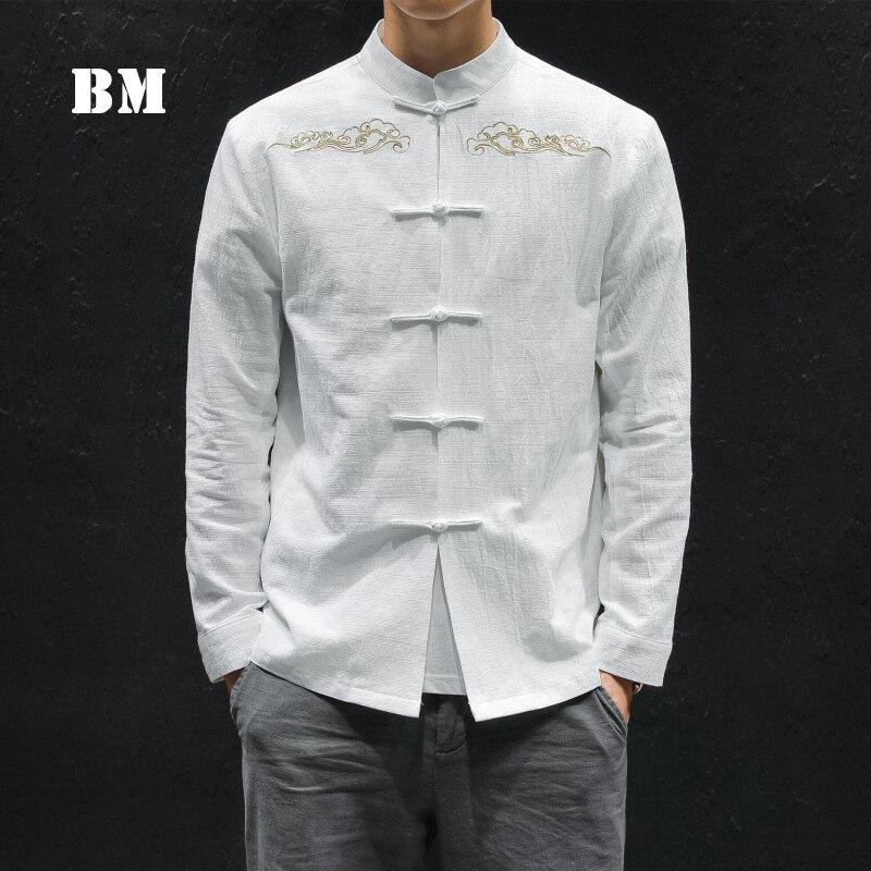 2021 النمط الصيني الربيع القطن الكتان طويلة الأكمام زرر قميص الرجال الملابس محظوظ سحابة التطريز حجم كبير المعاطف الرجعية 5XL