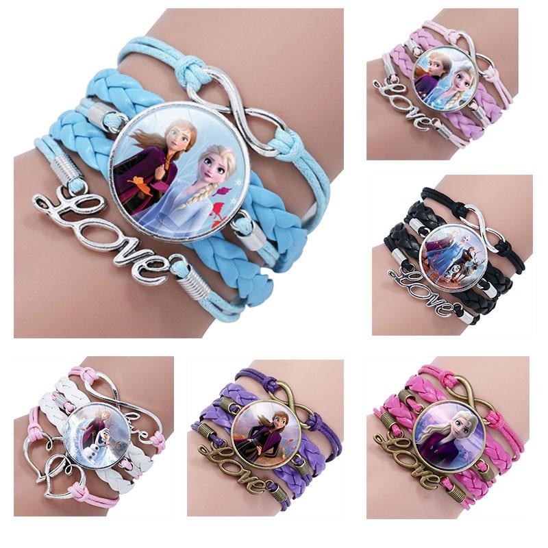 Фото - Disney Frozen II Princess Elsa anna  Time Gem Multi-layer Bracelet doll Children's girls Cartoon Pink Braided Bracelet подарочный набор disney frozen ii anna house set