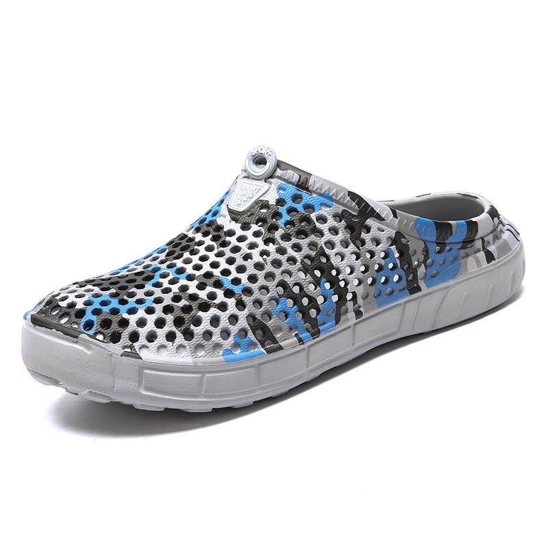 The New Men Camouflage Wading Sandals  Autumn Hole Shoes Rubber Clogs Garden Shoes Black  Beach Flat Slipper