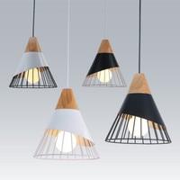 Home lighting Nordic modern minimalist dining room living room bedroom study solid wood cone angle iron pendant lights LB121410