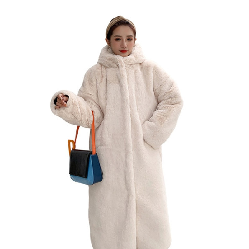 Faux Fur X Long Thick Winter Coat Women Warm Full Sleeve Solid Teddy Coat Soft Hooded Loose Overcoat Female Outwear Jackets