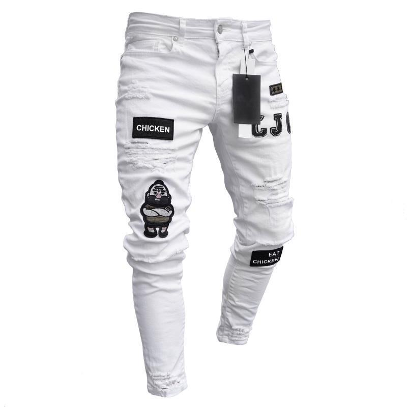 Embroidered Hole Slim Thin Pencil Jogging jeans Classic Casual Man Trousers Cowboys Men Men's Pants Pants Young Broken Denim Emb