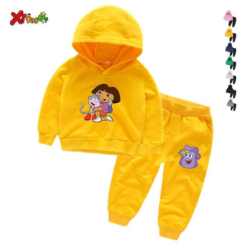 Hot Sale Kids  Hoodie set girls Trousers Outfit Sweatshirt Tops+ Pants Outfits 2pcs Set Toddler Kids Clothes  Dora Explorer