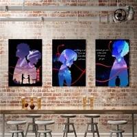 WTQ     affiches de film anime japonais avec votre nom  toile imprimee  decor mural  tableau dart mural pour decoration de salon  decoration de maison