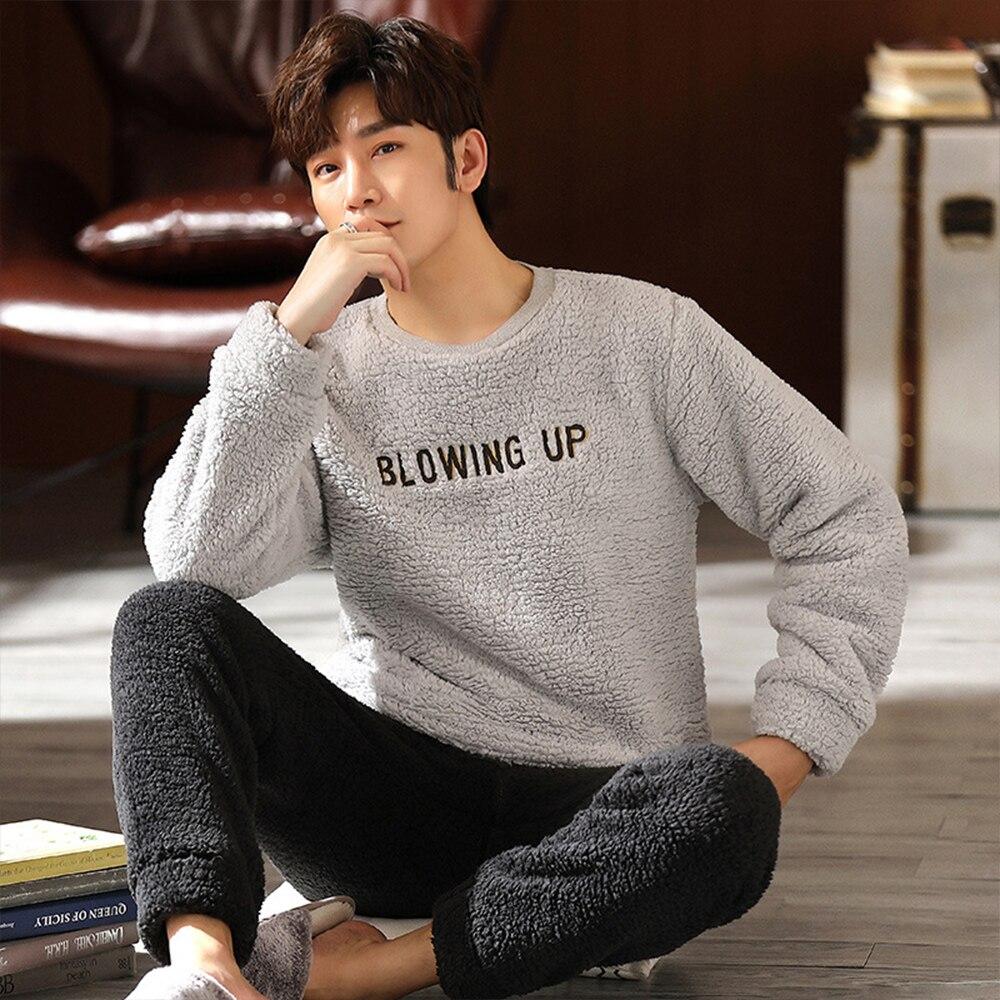 Мужчины люкс фланель пижамы комплекты зима супер тепло пижамы мода письмо принт одежда для сна костюм повседневная одежда для сна плюс размер 3XL