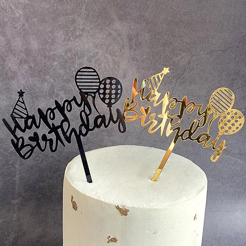 Nuevos globos, decoración para pastel de acrilico feliz cumpleaños, decoración para magdalenas de dibujos animados dorados, banderas para niñas, adornos de pastel de fiesta de cumpleaños
