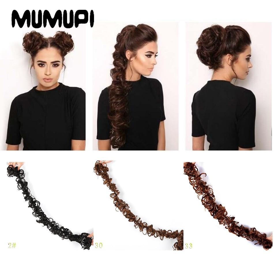 Mumupi diy penteado beleza chignon cabelo longo bun macio natural fibra de cabelo sintético headwear