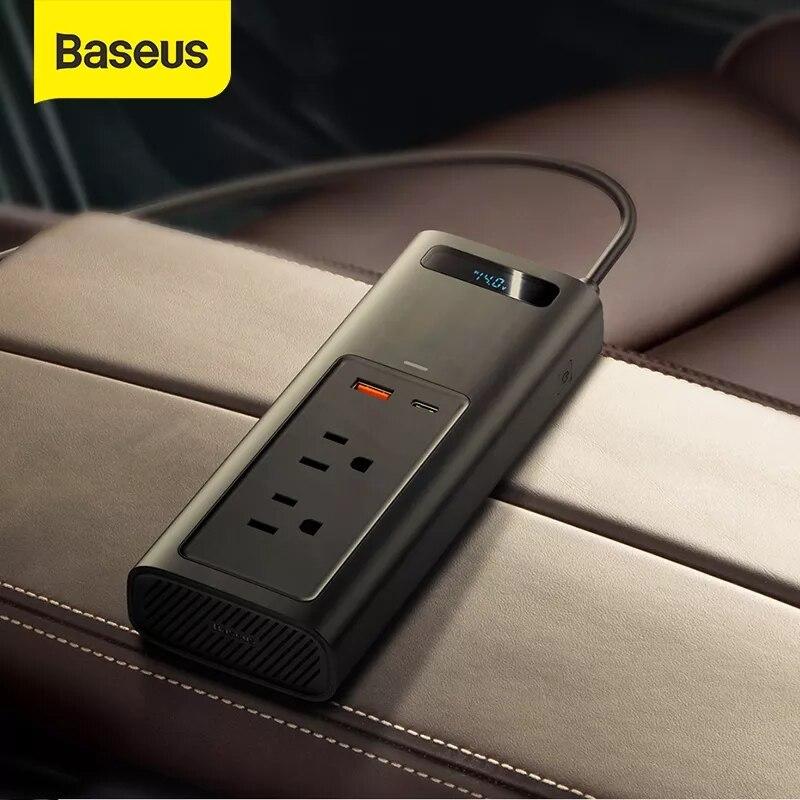 Baseus 150 واط سيارة العاكس التيار المتناوب المزدوج ميناء العالمي 12 فولت منافذ للسيارة مكنسة كهربائية سخان سيارة مهايئ شاحن للهواتف أقراص