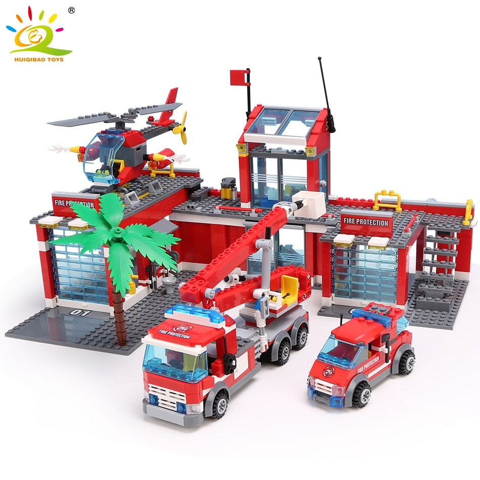 HUIQIBAO Blocks Toy 774pcs Fire Station Model Building Blocks City Construction Firefighter Truck Educational Bricks Toys Child