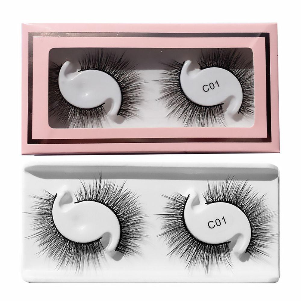 2Pairs 3D Faux Mink Natural long Lashes Fluffy Soft False Eyelashes Handmade Wispy Volume Reusable E