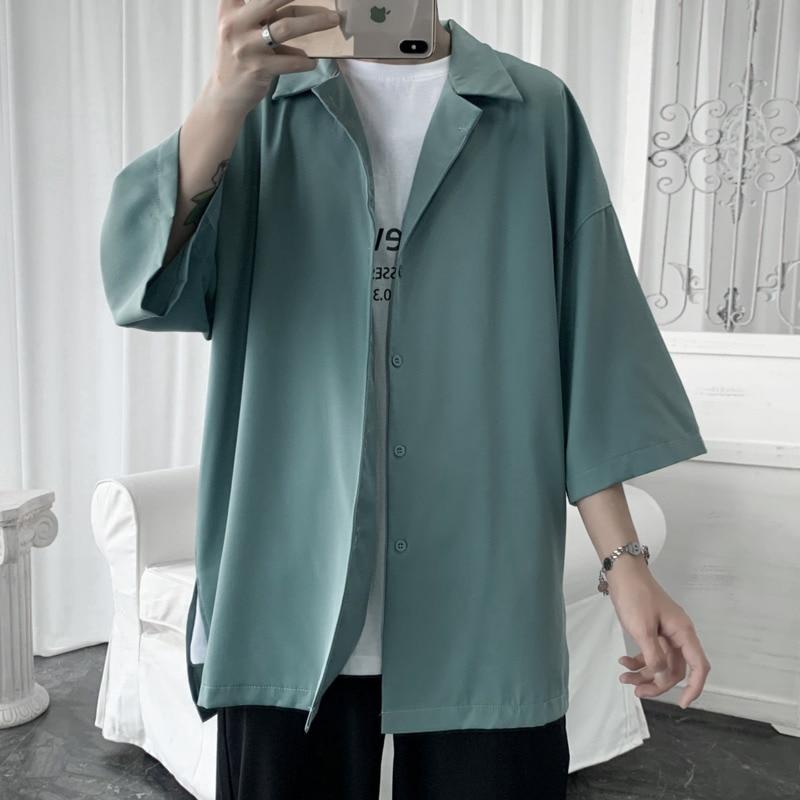 Summer Dress Shirt Men's Fashion Solid Color Business Casual  Men Streetwear Wild Loose Short Sleeve  Mens M-2XL