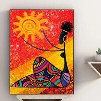 Affiche dart mural mode fille africaine et soleil  pour salon  photos  decoration de maison moderne  peintures sur toile sans cadre