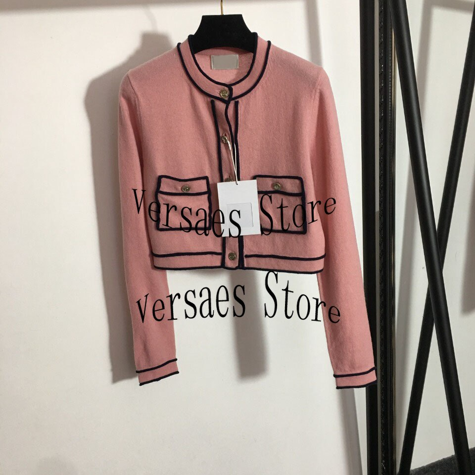 luxury design fashion single breasted women's knitted cardigan temperament round neck long sleeve cashmere wool knitted cardigan enlarge