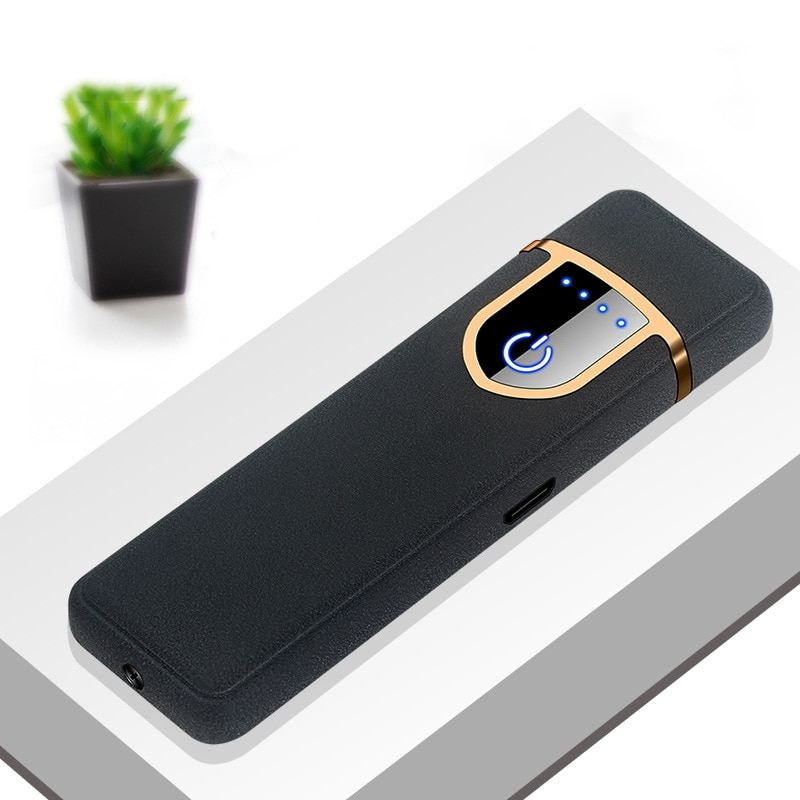 USB Charging Touch Sensing Switch Double-sided Lighter Windproof Flameless Electronic Cigar Cigarett