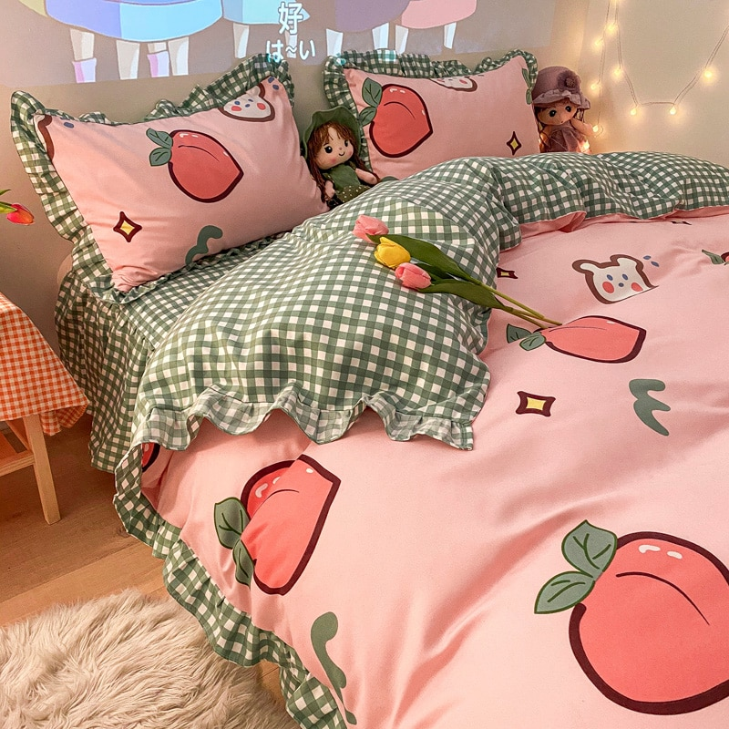 Kawaii الخوخ الجزرة طقم سرير التوأم كامل الملكة الملك الحجم الفاكهة المفارش ل تنورة نوم مزدوجة ورقة سادات حاف الغطاء